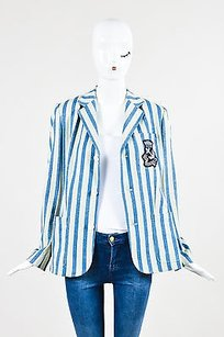 Ralph Lauren Ralph Lauren Blue Label Two-tone Blue And Cream Striped Crest Pocket Blazer