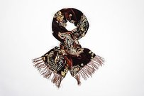 Ralph Lauren Ralph Lauren Collection Multicolor Velvet Paisley Satin Fringe Trim Scarf