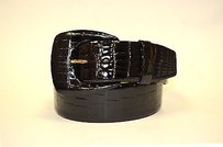 Ralph Lauren Ralph Lauren Glossy Black Alligator Wide Covered Buckle Belt 170766at