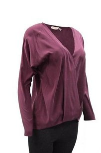 Ramy Brook Ally V Neck Stretch Silk Crossover Top Cranberry