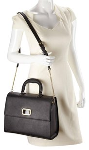 Raoul Saffiano Leather Gold Hardware Strap Top Handle Inside Pockets Tote in Black