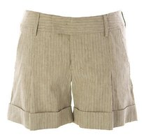 Ravenswood Raven Womens Pinstriped Linen Cuffed Dress Shorts Light Brown