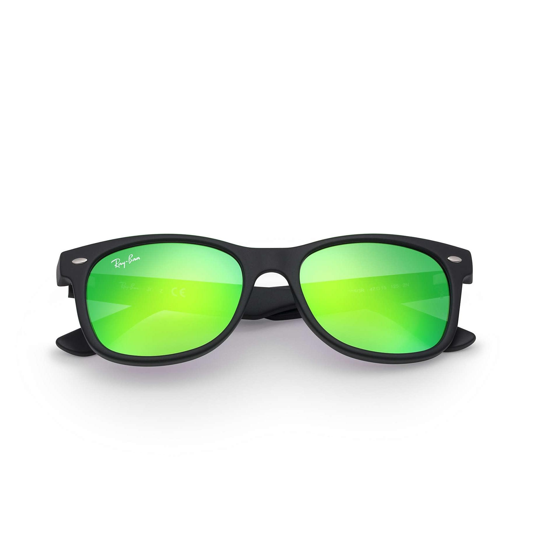 new wayfarer sunglasses 1qul  Junior New Wayfarer Sunglasses, Matte Black/Green Flash,