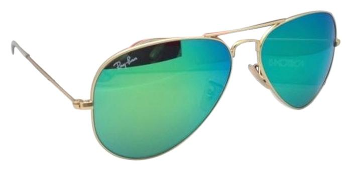 ray ban golden glass  ray ban new ray ban sunglasses rb 3025 large metal 11219 58 14 matte gold aviator frame wgreen mirror 13987528 0 1