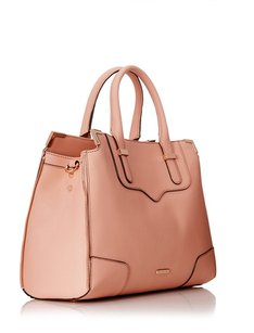 Rebecca Minkoff Leather Zippers Elegant Satchel in Peach