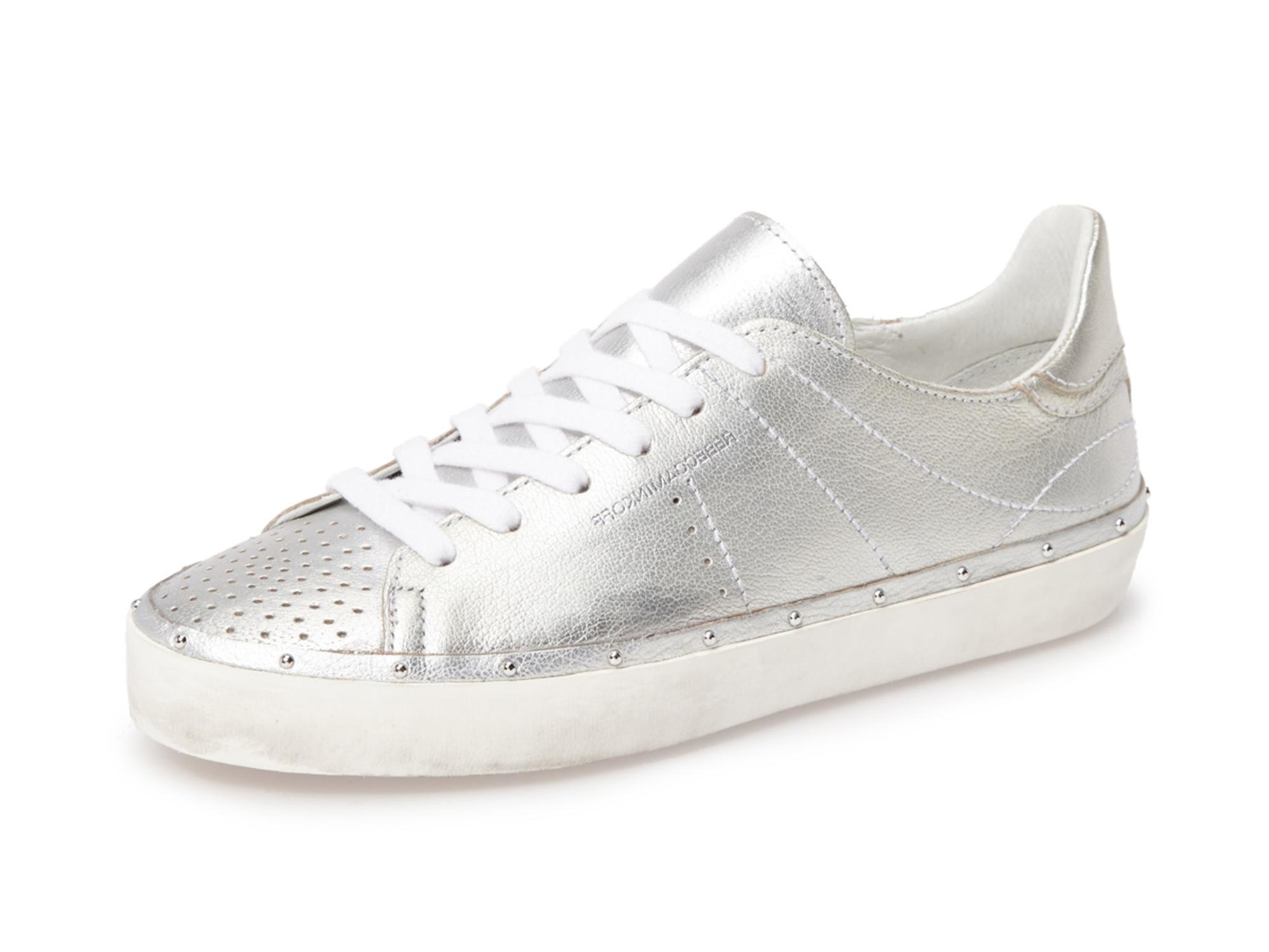 Rebecca Minkoff Studded Silver Michell Distressed Sole Studded Minkoff Sneakers Size US 7.5 Regular (M, B) 2962b7