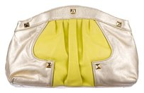 Rebecca Minkoff Studded Leather Neon Yellow Clutch