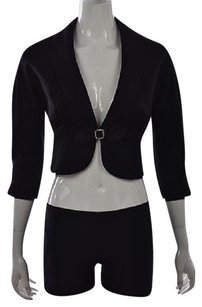 Rebecca Taylor Rebecca Taylor Womens Black Blazer 0 Cropped Textured Wool Jacket