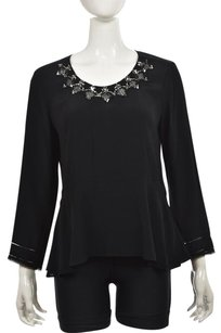 Rebecca Taylor Womens Long Sleeve Casual Shirt Top Black