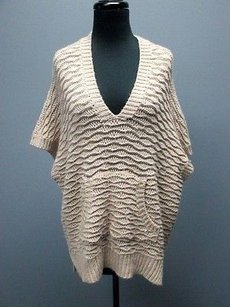 Rebecca Taylor Beige Gold Metallic V Neck Kangaroo Pouch Sm4228 Sweater