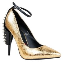 Red Kiss Gold Pumps