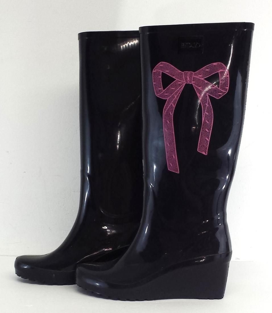 Black Rain Boots With Bow - Boot Hto
