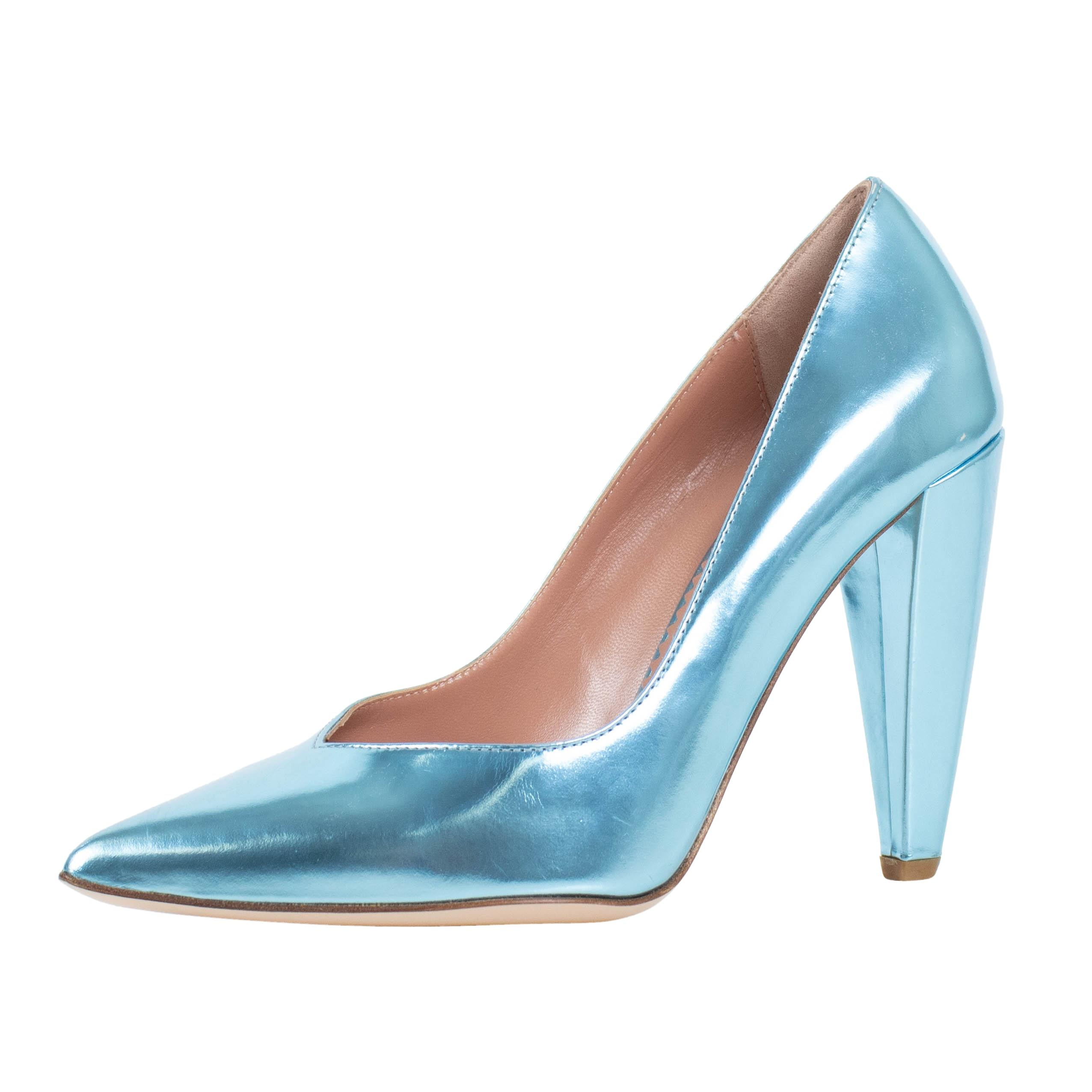 RED Valentino Blue Metallic Pointed Laminated Leather Pumps Size US 7 Regular (M, B)
