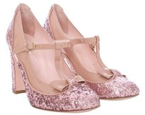 RED Valentino Glitter Bow Sparkle ROSE Pumps