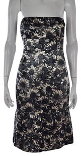 RED Valentino Womens Black Floral Sheath Strapless Knee Length Dress