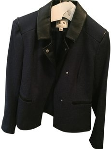 Reiss Leather Cotton Dark Blue Leather Jacket