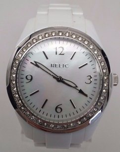 Relic Ladies White Relic By Fossil Zrj11006 Analog Watch Crystal Bezel