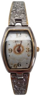 Relic Relic Zr33535 Two Tone Etched Band Analog Womens Watch Sold As Is For Parts