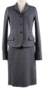 René Lezard Rene Lezard Womens Gray Pinstripe Dress Suit Acetate Blend Long Sleeve