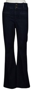 Rich & Skinny Amp Womens Dark Blue Cotton Casual Pants Denim Flare Leg Jeans