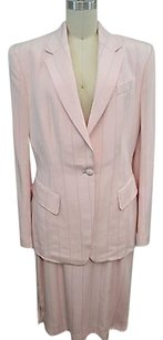 Richard Tyler Couture Richard Tyler Couture Pink Silk Stitch Striped Skirt Suit