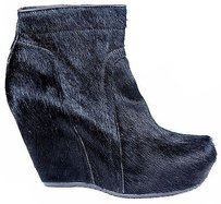 Rick Owens Pony Hair Zip Up Wedge Ankle Bootie Heels Black Platforms