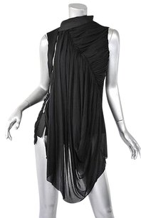 Rick Owens Silk Draped Asymmetrical Ruched Top Blacks