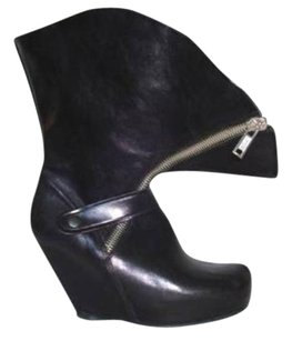 Rick Owens Womens Leather Envelope Wedge Black Boots