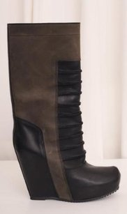 Rick Owens Womens Olive Black Leather Wedge Platform Multi-Color Boots