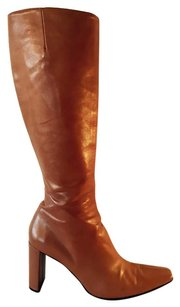 Robert Clergerie Knee High Nappa Leather Caramel Boots