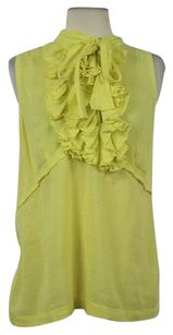 Robert Rodriguez Womens Ywllo Ruffle Sleeveless Shirt Top Yellow