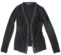 Roberto Cavalli 40 Beaded Black Cashmere Nog Sweater