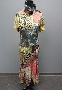 Roberto Cavalli Roberto Cavalli Silk Abstract Print Casual Top And Skirt Suit Sm12544