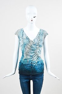 Roberto Cavalli Blue Gray Top Multi-Color