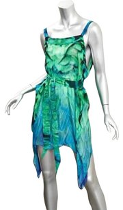 Roberto Cavalli Womens Feather Print Chiffon Belted Dress Tunic