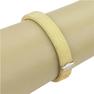Roberto Coin Roberto Coin 18k Two Tone Gold Diamond Wide Textured Bangle Bracelet