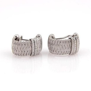 Roberto Coin Roberto Coin 18k White Gold Silk Weave Diamond Huggie Earrings