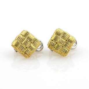 Roberto Coin Roberto Coin Appassionata 18k Yellow Gold Basket Weave Square Earrings