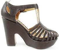 Rochas Leather Sandals Heels Eu Chocolate Platforms