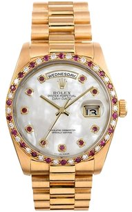 Rolex 18K Gold Day- Date Presidential Custom Ruby MOP dial & Ruby diamond bezel Men's Watch