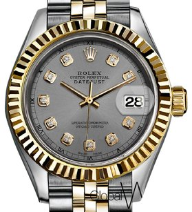 Rolex 31mm Gunmetal Grey Auth Rolex 2-Tone 18K Yellow Gold & SS Fluted Bezel