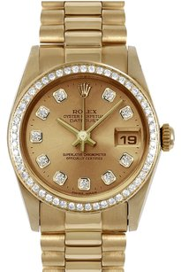 Rolex 31mm Mid-Size 18k Yellow Gold Champagne Diamond Dial President Watch