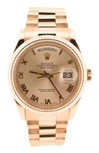 Rolex Mens Rolex Day-date President 18k Everose Rose Gold Watch Wroman Dial 18235