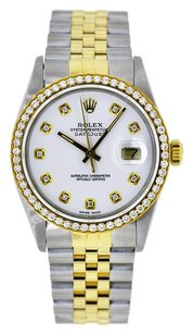 Rolex 36mm DateJust Two Tone White Diamond Dial Bezel 1.25 Carat