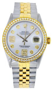Rolex 36mm DateJust Two Tone White MOP Diamond Dial Bezel 1.25 Carat