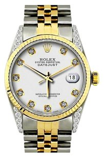 Rolex 36MM ROLEX DATEJUST GOLD S/S DIAMOND ON THE LUGS WATCH