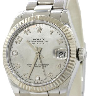 Rolex Authentic Rolex DateJust Stainless Steel 18k White Gold Bezel Diamond Dial 178274 31mm Midsize Watch with Box