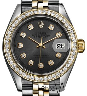 Rolex Charcoal Grey Genuine Rolex Gold & Stainless Steel 2tone Ladies size 2