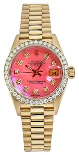 Rolex Datejust 18K Gold Custom Diamond Pink MOP Dial Ladies Watch
