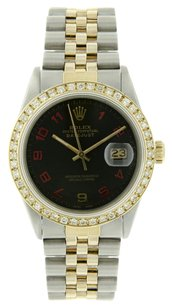 Rolex Datejust Black Matte Dial 18k YG Diamond Bezel With FREE Rolex BOX